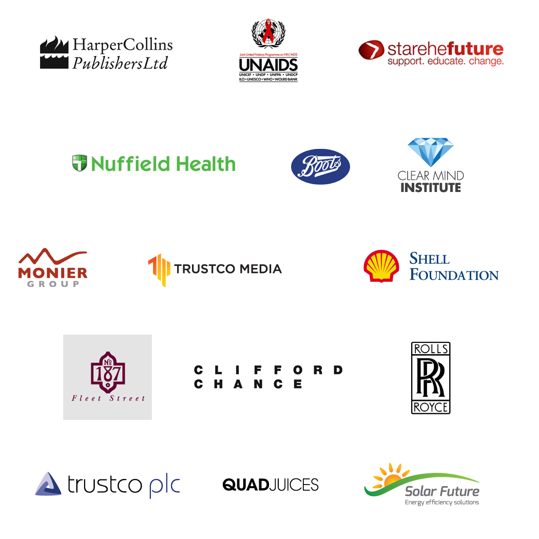 Creative Services to: Harper Collins, UN Aids, Starehe Future, Nuffield health, Boots, Monier, Shell, 187 Fleet Street, Clifford Chance, Rolls Royce